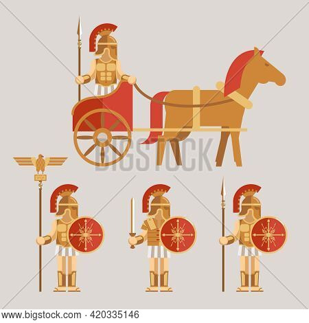 Ancient Wariors Icons Set. Warrior On Chariot With Spear And Warrior With Sword And Shield. Vector I