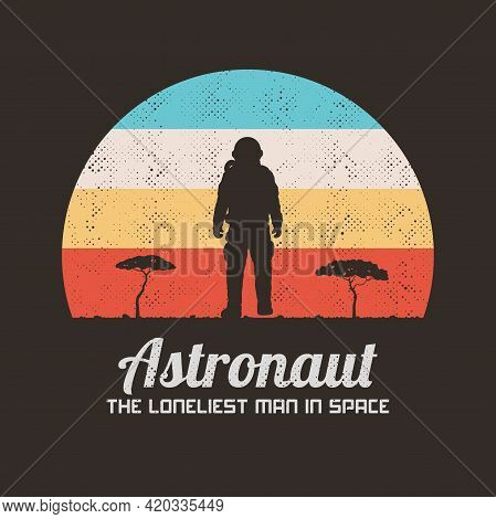 Lonely Astronaut. Cosmonaut Silhouette. Man On Desert Planet