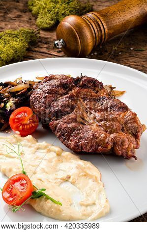 Grilled Marbled Beef Steaks With Mashed Potatoes, Studio Shot