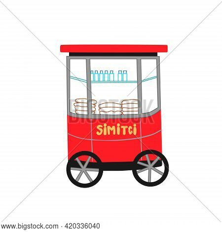 Vector Illustration Of Traditional Red Turkish Street Food Cart With Sesame Bagel Simit Isolated On