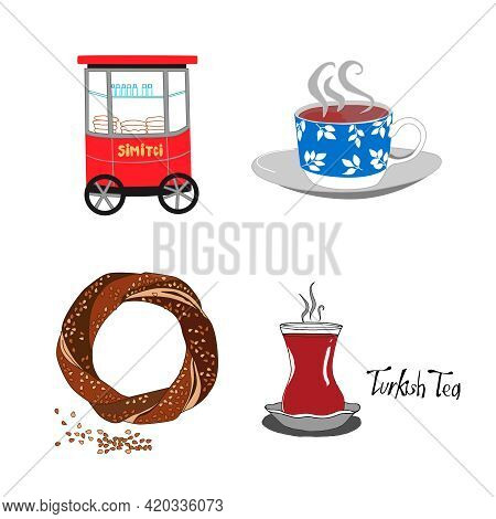 Traditional Symbols And Sights Of Turkey. Vector Illustrations Of A Red Cart, Bagel, Turkish Tea And