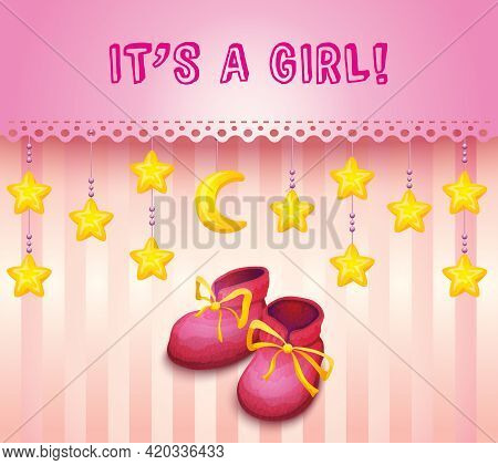 Girl Baby Shower Invitation With Pink Kid Shoes On Pink Background With Decoration Vector Illustrati