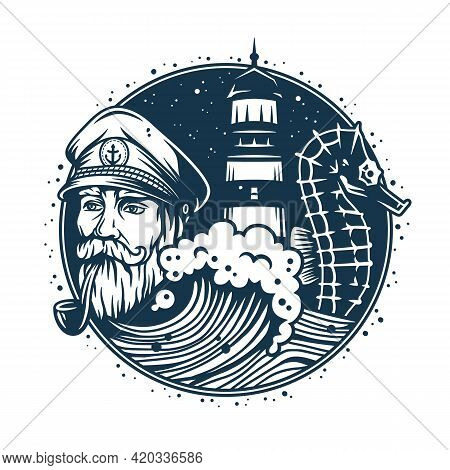 Marine Sailor Captain With Pipe. Nautical Skipper