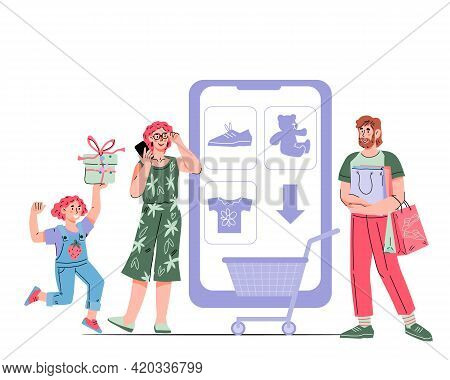 Happy Family With Child Shopping And Buying Online, Cartoon Vector Illustration Isolated On White Ba