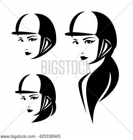 Woman Horse Rider Wearing Helmet Head - Female Jockey Representing Equestrian Sport Black And White