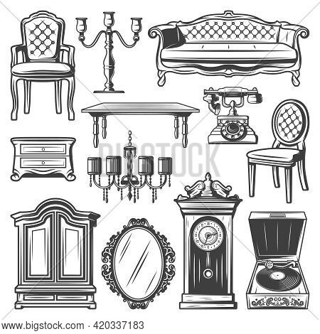 Vintage Furniture Elements Set With Chair Sofa Chandelier Candlestick Nightstand Cabinet Table Mirro