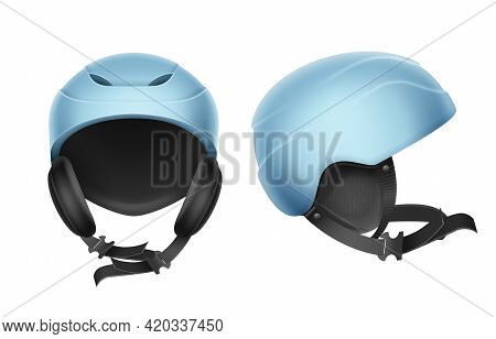 Vector Blue Protective Helmet For Skiing, Snowboarding And Other Winter Sports Front, Side View Isol