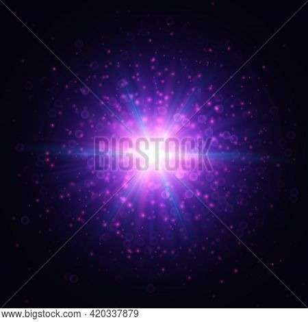 Blue And Purple Light Flare Effect On Dark