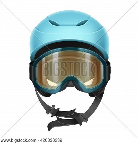 Vector Blue Protective Helmet With Orange Goggles For Skiing, Snowboarding And Other Winter Sports F