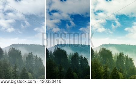 Photos Before And After Retouch, Collage. Picturesque View Of Mountain Forest In Foggy Morning