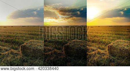 Photos Before And After Retouch, Collage. Hay Block On Mowed Field
