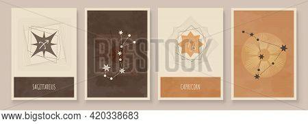 Abstract Art With Zodiac Celestial Sign And Constellation. Sagittarius Or Archer, Capricornus Or Goa