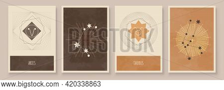 Abstract Art With Zodiac Celestial Sign And Constellation. Taurus As Bull, Aries As Ram. Wall Art In