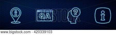 Set Line Head With Question Mark, Location Information, Question And Answer And Information. Glowing