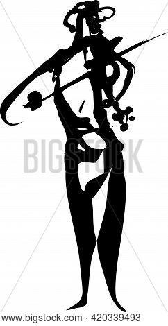 Violin Player. Artistic Violin Mucician. Vector Illustration Ink