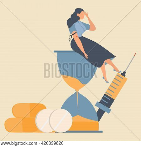 Drug Addicted Broken Woman Using Heroin And Sitting On The Hourglass With Giant Syringe And Pill On