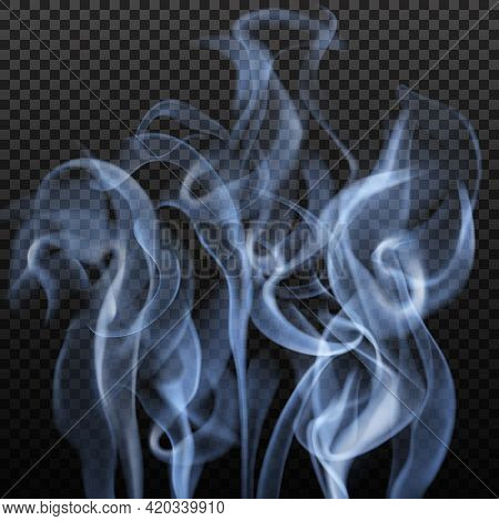 Realistic Abstract Image With Slate Grey Colour Blurry Vibrant Smoke Shapes On Dark Transparent Back