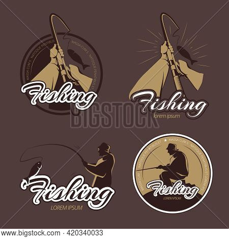 Vintage Fishing Club Vector Emblems And Labels. Fishing Emblem, Fishing Retro Badge, Fisherman Fishi