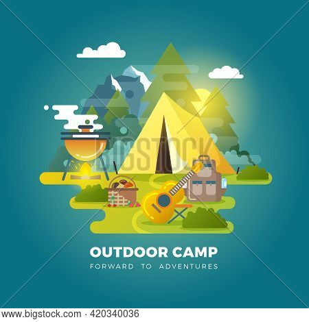 Vector Camping Background With Tourist Tent. Camping Outdoor, Travel Camp, Tourism Camp With Tent Il