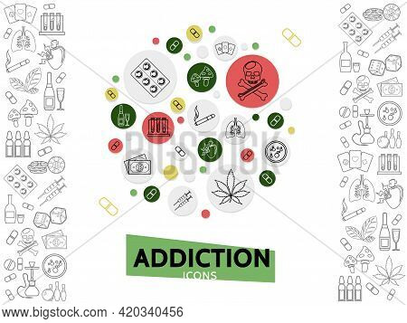 Bad Habits Template With Line Icons Of Dangerous Harmful Addictions In Circles Isolated Vector Illus