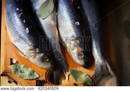 Salted Herring Of Spicy Salting. Spices And Salt. Herrings With Head And Tail On A Wooden Board.
