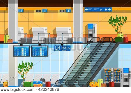 Airport Terminal Flat Composition With Departure Lounge Touristic Baggage Schedule Scoreboard Escala