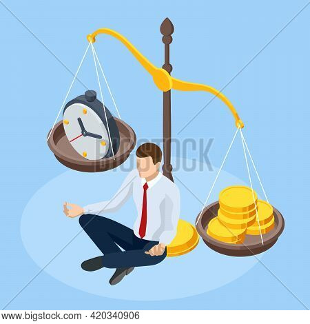 Isometric Time Is Money Concept. Money And Time Balance On Scale. Financial Investments, Revenue Inc