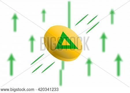 Bat Coin Up. Green Arrow Up With Gaussian Blur Effect Background. Bat Market Price Soaring. Green Ch