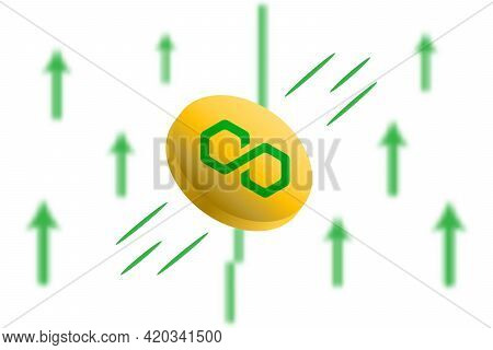 Matic Coin Up. Green Arrow Up With Gaussian Blur Effect Background. Matic Market Price Soaring. Gree