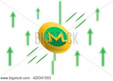 Monero Coin Up. Green Arrow Up With Gaussian Blur Effect Background. Monero Market Price Soaring. Gr