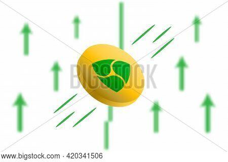 Nem Coin Up. Green Arrow Up With Gaussian Blur Effect Background. Nem Market Price Soaring. Green Ch