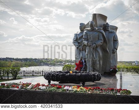 Syzran, Russia - May, 2021: The Eternal Flame Of Remembrance Fallen Soldiers - Heroes Of The Great P