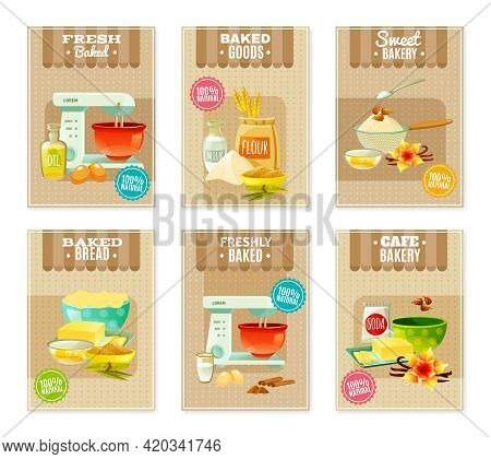 Flat Baking Banners And Cards For Cafe Or Bakery With Products And Tools For Cooking Isolated Vector