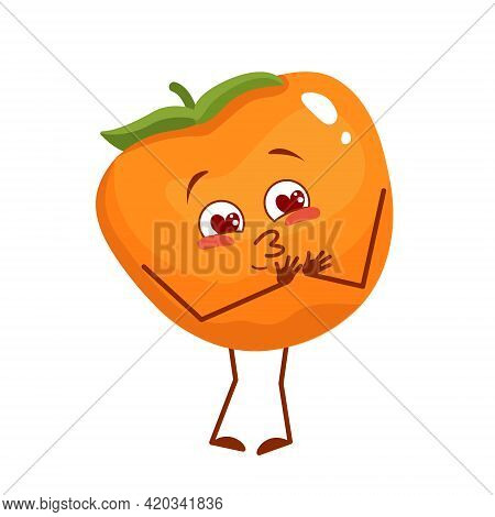 Cute Persimmon Character Falls In Love With Eyes Hearts, Face, Arms And Legs. The Funny Or Smile Emo