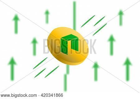Neo Coin Up. Green Arrow Up With Gaussian Blur Effect Background. Neo Market Price Soaring. Green Ch