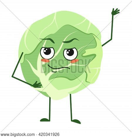 Cute Cabbage Character With Emotions, Face, Arms And Legs. The Funny Or Proud, Domineering Hero, Veg