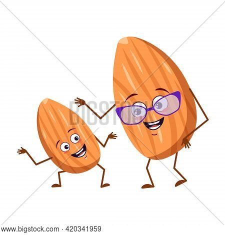 Cute Almond Characters With Emotions, Face. Funny Grandmother With Glasses And Dancing Grandson With