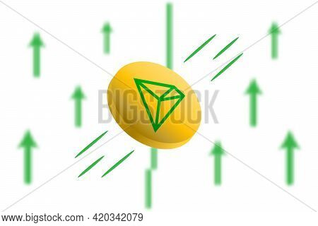Tron Coin Up. Green Arrow Up With Gaussian Blur Effect Background. Tron Trx Market Price Soaring. Gr