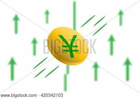 Yuan Digital Money Up. Green Arrow Up With Gaussian Blur Effect Background. Yuan Market Price Soarin