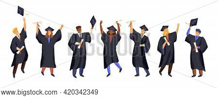 Group Of Graduate Students Wearing Gown And Graduation Cap. University Students Hold Diploma And Cel