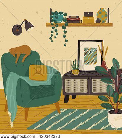 Living Room Interior Hand Drawn Vector Illustration. Home Modern Interior Design. Cozy Room Furnitur