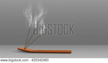 Aroma Sticks Incense With Realistic Smoke 3d Vector Illustration. Aroma Stick On Wooden Stand Isolat