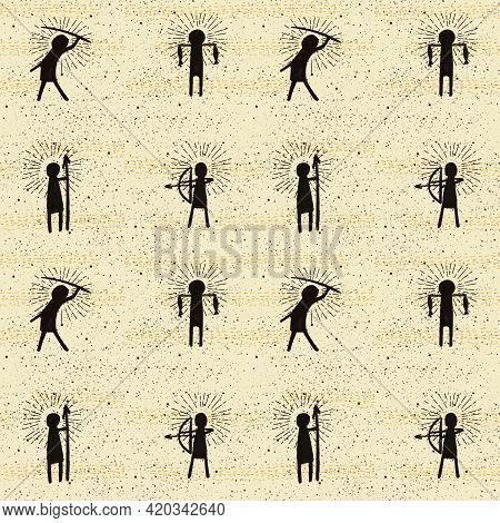 Primitive People Seamless Pattern, Rock Art Wallpaper, Graphic Background Good For Print And Textile