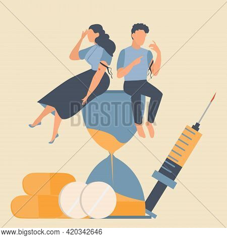 Drug Addicted Broken Man And Woman Using Heroin And Sitting On The Hourglass With Giant Syringe And