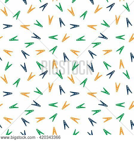 Vector Pattern With Colorful Clothespins On A White Background