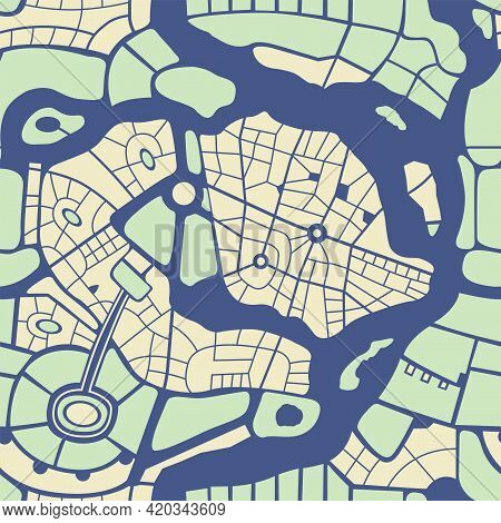 Abstract Seamless City Map Pattern. Repeatable Flat Illustration With A City Roads Plan And River. D