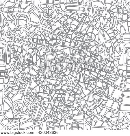 Abstract Seamless City Map Pattern. Vector Monochrome Background With The Intersecting Of Many Roads