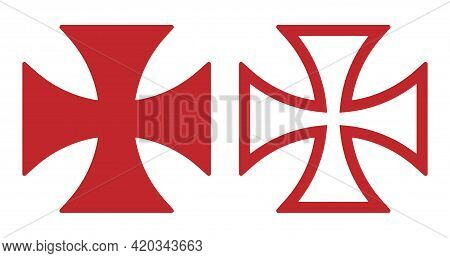 Maltese Cross Vector Shape Symbol. Christianity Sign. Christian Religion Icon. Catholic And Protesta