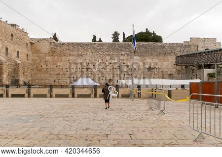 Empty Due To Coronavirus, Square In Front Of The Western Wall In The Old City Of Jerusalem, Israel