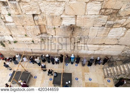 Jerusalem, Israel, March 23, 2021 : View From The Tunnel Leading To The Maghreb Gate On The Temple M